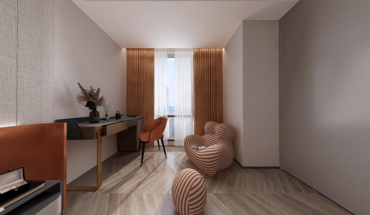 联发欣悦华庭现代轻奢风格装修  加入了强大的储物功能,富有人文气息。